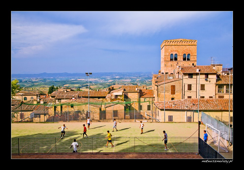 Football Game, San Gimignano, Tuscany, Italy