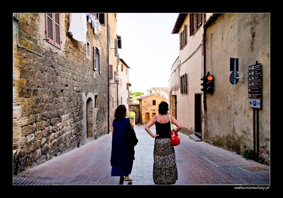 Red Traffic Light, San Gimignano, Tuscany, Italy